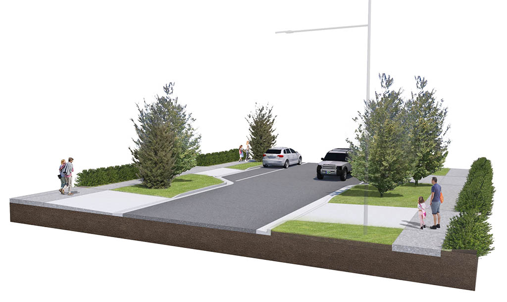 Render of proposed streetscape with native trees