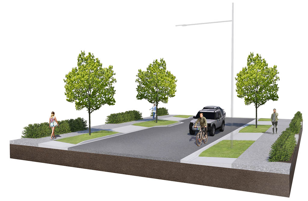Render of proposed streetscape with deciduous trees